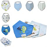 Bebedou Lovely Cotton Embroidered Bandana Bibs 6 Pack newborn gift pack super absorbent drool bibs , baby shower gifts , boys , girls, unisex (blue pack)