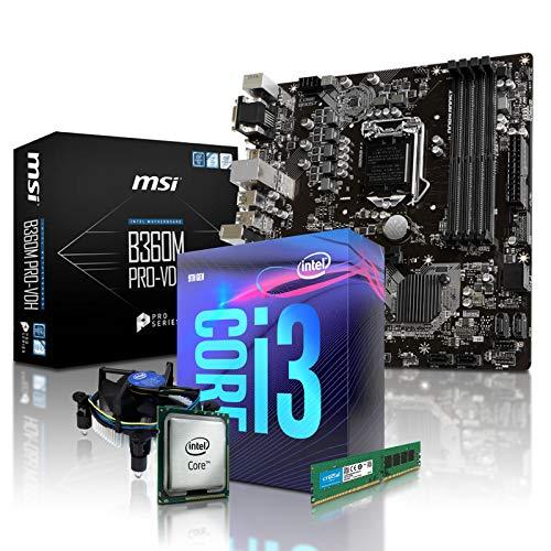 PC Aufrüstkit Intel, i3-9100 4x3.6 GHz, 8GB DDR4, (ohne onBoard Grafik, eigenständige Grafikkarte notwendig), Mainboard Bundle, Tuning Kit, fertig montiert, Spiele Office 8 Gb Bundle Kit
