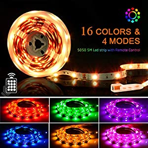 LED Strips Lights 5M, SHINELINE 16.4Ft RGB SMD 5050 Led Light Strip Dimmer Colour Changing Kit with 24 Keys Remote Control Mood Light for Home Kitchen Christmas Wedding Party DIY Decoration