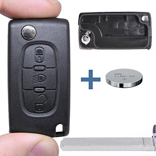 Klapp Schlüssel Gehäuse Funkschlüssel Fernbedienung Autoschlüssel 3 Tasten LICHT VA2 + Batterie für Citroen/Peugeot/FIAT -