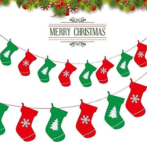 A-szcxtop 'Merry Christmas' Cartoon Buchstaben Pull Flaggen zum Aufhängen Flaggen Wimpelkette Home Party Fenster Baum Wand Decor Banner Socks