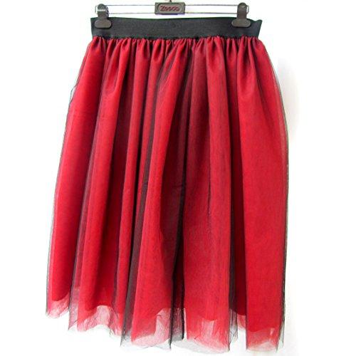 Honeystore Damen's Rock Tutu Tuturock Tütü Petticoat Tüllrock 6 Schichten mit Gummizug für Karneval, Party und Hochzeit 3XL Schwarz und (Rapunzel Muster Kostüme Erwachsene)