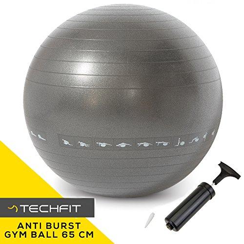 Ballon d'Exercice Premium Fitness Anti Burst 65 cm, Pompe Incluse, Fitness, Equilibre, Yoga