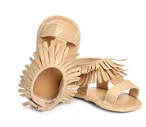 Modakeusu unisex bambino sandali con suola in gomma antiscivolo estate Prewalker First Walkers, Khaki, Size 1 (11cm) Khaki