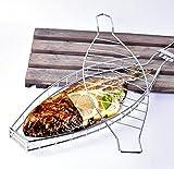 Dingsheng Graticola da barbecue per pesce, griglia in acciaio inox, doppia rete metallica richiudibile