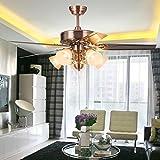 Ventilador de techo, _de 48 pulgadas, ventilador de techo salón europeo, ventilador LED lámpara, comedor con lámpara