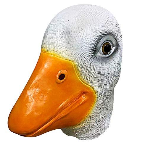 Surenhap Entenmaske, Halloween Maske Latex Gummi Lustig Ente Maske für Halloween Cosplay Kostüm Weihnachten (Weiß) (Für Halloween-duck-kostüme Erwachsene)