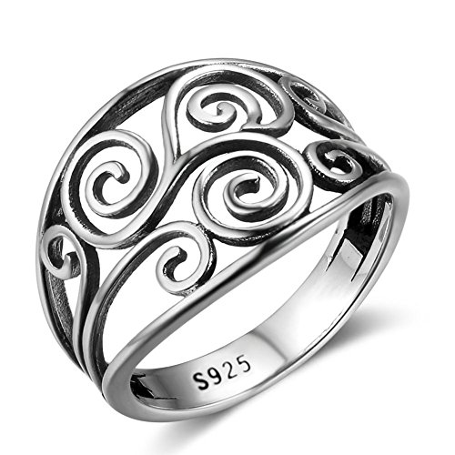 PHOCKSIN Sterling Silver Irish Celtic Knot Ring for Women Girl Anniversary Rings Christmas Gifts jewellery (N 1/2)