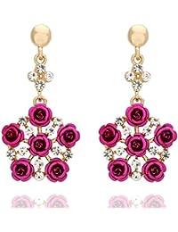 Shining Bee Fashion Jewelry Square Jeweled Striped Earrings M-13