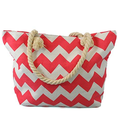 Borsa da spiaggia con cerniera e manici in corda di alta qualità, con rivestimento impermeabile e una tasca interna con cerniera rosa