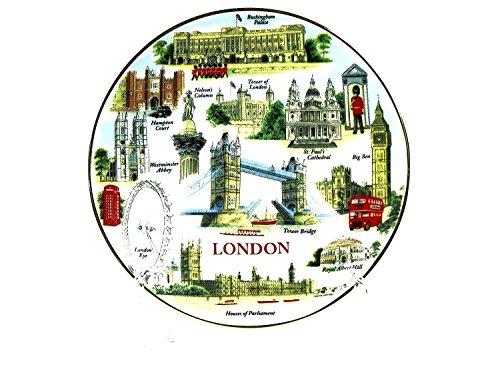 Assiette en porcelaine fine Thème Londres avec Tower Bridge (15 cm avec support) Souvenir de Londres à collectionner