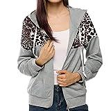 AMUSTER Damen Herbst Winter Leopard Print Jacke mit Kapuze Pullover Kapuze Mantel Sweats Reißverschluss Taschen Sport Mantel Fahsion Lässig Outwear