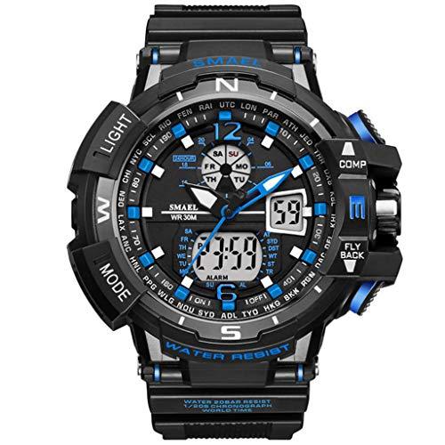Darringls Unisex Herren Sport Armbanduhr, Fashion Design Watch Analog Digital Watch Sport Armbanduhr Military Armbanduhr (Blau, One Size)