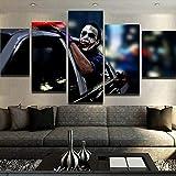 """XCHWLH Quadro su Tela - 5 Pezzi - 200X100 Cm / 78,8X39,4""""Quadro Moderno Quadro su Tela Immagine Soggiorno Soggiorno Decorazioni per La Casa 5 Pezzi Film Clown Pittura Modulare HD Poster Tipografi"""