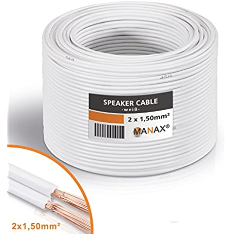Cable de altavoz (2x 1,5mm², 30m), rollo blanco