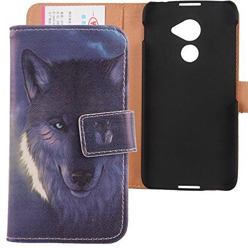 """Lankashi PU Flip Leder Tasche Hülle Case Cover Schutz Handy Etui Skin Für Blackberry DTEK 60 5.5\"""" Wolf Design"""