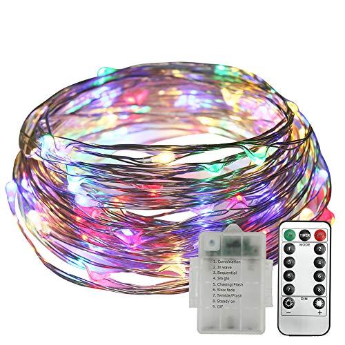 Stringa Luci LED, Neoperlhk Catena Luci Decorative 10m 8 Giochi di 100 Luci LED Filo di Rame Impermeabile IP65 da Esterno con Telecomando Giardino Natale Matrimonio Piscina RGB - Luci Colorat