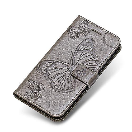iPhone 6 Plus 6s Plus Hülle, The Grafu PU Leder Handyhülle mit Stoßfest TPU, Schmetterling Muster [Standfunktion] [Kartenfach] Schutzhülle für Apple iPhone 6 Plus / 6s Plus, Grau