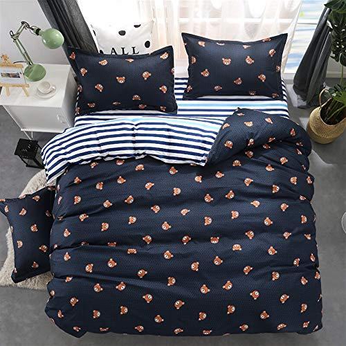 UOUL Bettwäscheset Baumwolle 4-teilig Verblasst Nicht Komfort Jugend Bär Niedlich Beige Kinderschlafzimmer Single Queen,Bear-Navy,California King