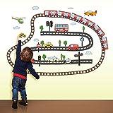 denoda Autos, Züge, Helikopter - Wandsticker (Wandsticker Wanddekoration Wohndeko Wohnzimmer Kinderzimmer Schlafzimmer Wand Aufkleber)