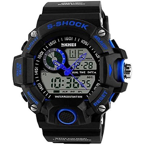 Ularma Moda Nuevos hombres LED Digital fecha alarma impermeable de goma deportivo reloj analógico reloj de pulsera