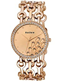 Austere Premium Quality Rose Gold Color Analog Women's Watch With Metal Chain: AWW-BLA-171717