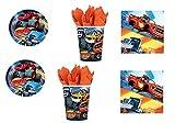 Cdc -kit n°2 festa e party Blaze–Le mega macchine (16 piatti, 16 bicchieri, 20 tovaglioli)