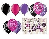 Feste Feiern Geburtstagsdeko Zum 50. Geburtstag | 21 Teile All-In-One Set Luftballon Deckenhänger Swirl Pink Schwarz Violett Party Deko Happy Birthday