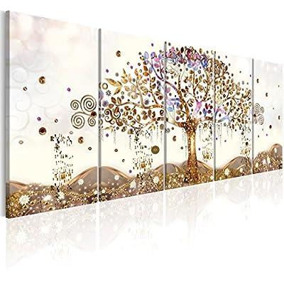 murando Quadro Albero della Vita Klimt 100×40 cm Stampa su Tela in TNT XXL Immagini Moderni Murale Fotografia Grafica Decorazione da Parete 5 Pezzi Astratto l-A-0009-b-n