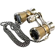 HQRP Prismáticos de ópera / Binocular de Teatro 3 x 25 dorado con cadena plateada