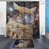 JSTEL Nebel, Universum, Motiv Katze mit Sonnenbrille-Badezimmer-Set maschinenwaschbar, für den täglichen Gebrauch, 60x 40cm, wasserdicht, mit 12Haken und Anti-Rutsch