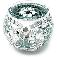 Orientalische Teelichtglas 100% Handgearbeitet 9x10cm Türkisch Windlicht Einzelstück Teelicht Rund Mosaik Glas Unikat Weiß