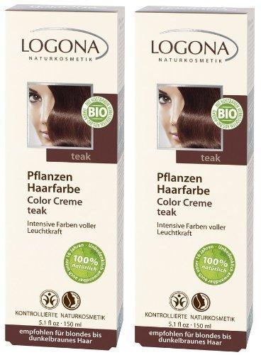 Logona Color Creme teak Henna Haarfarbe Pflanzenhaarfarbe im Doppelpack 2 x 150 ml