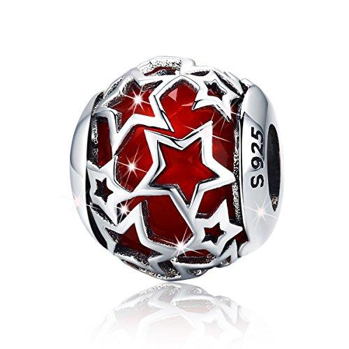 Star Charms Charm-Anhänger, Zierkugel aus 925er-Sterlingsilber mit eingefasster Glasperle in Blau, für Armbänder oder Halsketten, Damenschmuck rot -