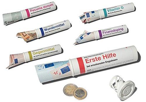 6er-Set: Geld- & Geschenkröhrchen im Medikamenten-Stil +++ MIX SET Nr. 1 zum Geld-verschenken +++ Sechs lustige Motive +++ SCHERZBOURIQUE (Set 1)