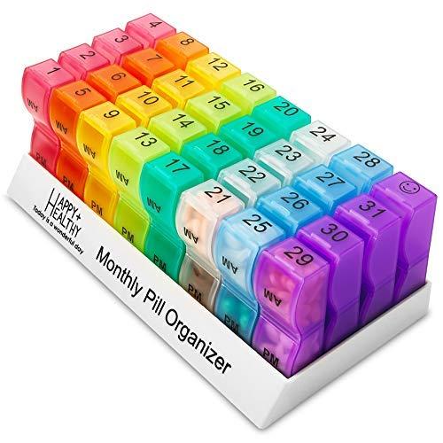 MEDca Tabletten-Organizer mit 32 Fächern, für die 2-mal täglichen Einnahme von Tabletten, Pillenspender