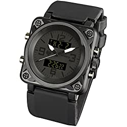 INFANTRY® Mens Analogue - Digital Wrist Watch Sport Date Alarm Chronograph Black Rubber Strap