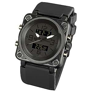 INFANTRY in-023-allb-r–Montre de Poignet pour homme, bracelet en silicone noir