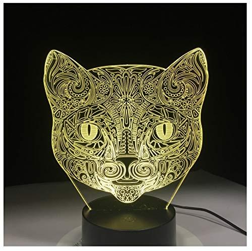 Kühle Tier Licht 3D Vision Walking Katze Nachtlicht Für Kinder 7 Farbwechsel Schlafzimmer Stimmung Baby Nachtlicht Katze Gesicht Lampe