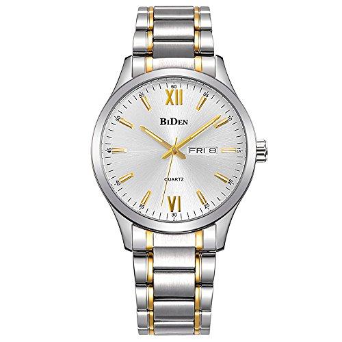 Relojes, Relojes para Hombre Oro Acero Inoxidable Reloj de Moda de Lujo Resistente al Agua Muñeca Analógico Reloj de Cuarzo (Gold)