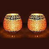 Earthenmetal Handcrafted Golden Beads And Crystal Decorated Mosaic Candle Holder/candle Light-set Of 2