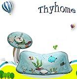 Baby Kinder Ozean Gehärtetem Glas Handwaschbecken Gehärtetem Glas Container Waschbecken Waschbecken Set (L370mm * W295mm * H125mm * T12mm)