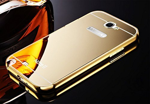 AE (TM) Luxury Metal Bumper + Acrylic Mirror Back Cover Case For SAMSUNG GALAXY NOTE 2 7100 GOLD PLATED  available at amazon for Rs.299