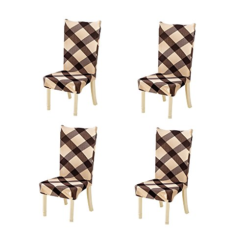 Nibesser 4er Set Stuhlhussen Stretch Stuhlbezug elastische moderne Husse Dekoration Stuhlüberzug für Universelle Passform (2#) (Stuhlhussen-set)