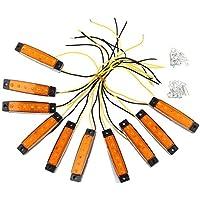 Justech LED-Indikator Seitenmarkierungsleuchten vorne hintere Seite Lampe Position Bernstein-oder Orangefarbe 12V für Anhänger,LKW,Wohnwage,Wohnmobile,Van,LKW,Bus, Boot ,Traktor