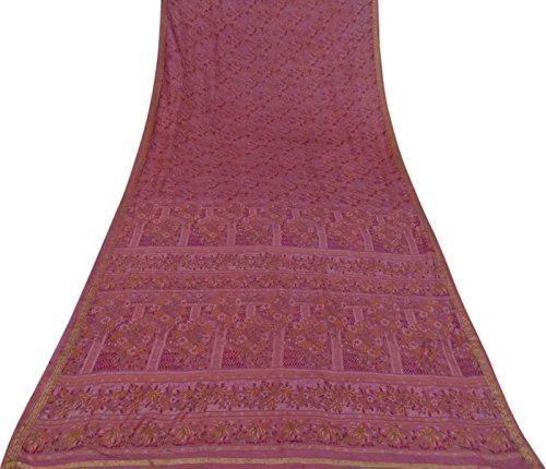 Vintage Reine Seide Indian Calico Printed Saree Pink Dress machen Sari 5 Yards verwendet (Calico Floral Pink)
