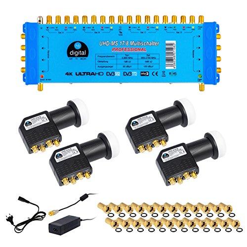HB-Digital Quattro LNB Schwarz + Multischalter pmse 17/8 von HB-DIGITAL bis zu 4x Satellit und bis zu 8 x Unabhängige Teilnehmer / Receiver für Full HDTV 3D 4K UHD mit Netzteil + 40 Vergoldete F-Stecker Gratis dazu