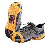 TRIWONDER Ice Grips 10 Dientes Antideslizante Zapato/Bota Ice Traction Slip-on Snow Puntas de Hielo Crampones Calas Estiramiento de la tracción del Calzado (Naranja, XL (EUR: 45-48))