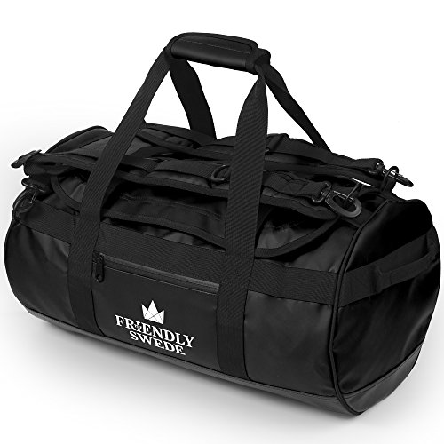 The Friendly Swede Wasserfeste Reisetasche Duffle Bag Rucksack - 30L / 60L / 90L - Seesack, Sporttasche Duffel Dry Bag mit Rucksackfunktion - SANDHAMN (Schwarz, 30L)