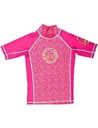 Surfit Maillot de plage à manches courtes pour fille Rose Imprimé plage rose